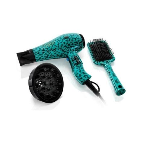 Hair Dryer With Brush Uk rebel teal leopard hair dryer and paddle brush set
