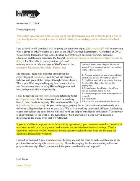 missions support letter template oru outreach fundraising letter 09