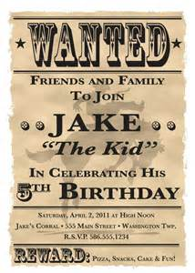 wanted poster cowboy western theme birthday invitation 5 quot x 7 quot digital printable file