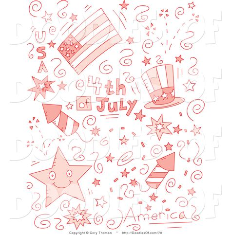 doodle pink vector clipart of a pink collage of fourth of july doodles