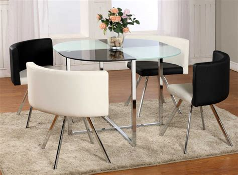 Dinette Table And Chairs by Extravagant Rounded Frosted Glass Top Leather Dinette