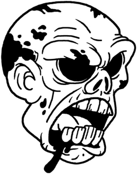 zombie head coloring page bloody zombie head decal car or truck window decal sticker