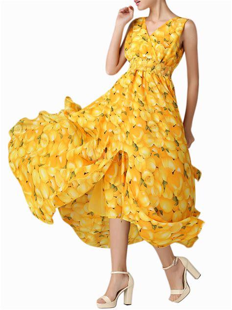 Dress Anak Layer Motif Leaves womens multi layered leaf pattern v neck split design dress milanoo