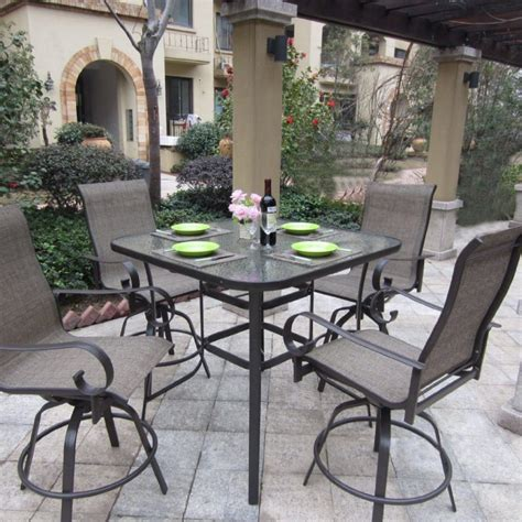 High Patio Dining Table Patio Dining Sets Glass Top Minimalist Pixelmari