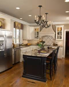 White Kitchen Cabinets With Black Island White Kitchen Black Island Traditional Kitchen Other