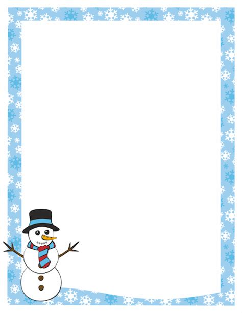 lined paper with snowman border a page border featuring a snowman and a snowflake border