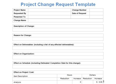 project management change request form templates project