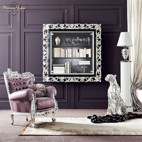 Silver Living Room Furniture Vogue Salon With Purple Upholsteries And Furniture Decorated With Silver Leaf Applications