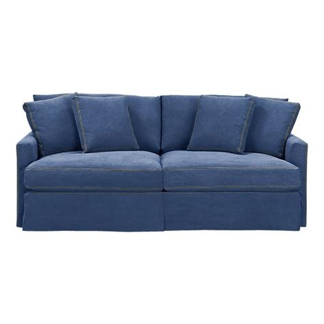 crate barrell denim sofa blue lounge 83 quot slipcovered