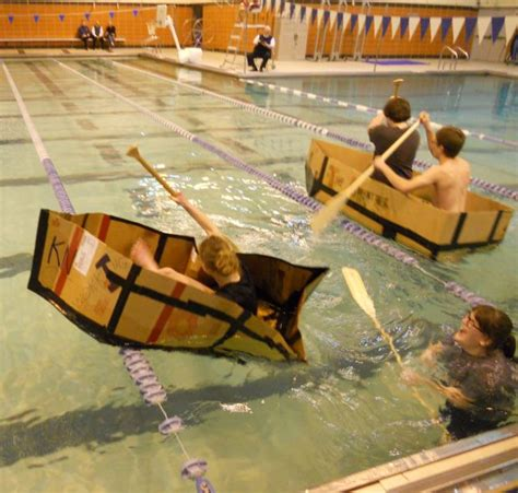 physics boat project physics students compete in cardboard boat regatta