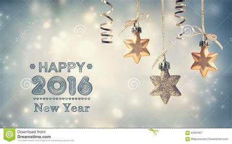 happy new year 2016 message with hanging stars stock photo