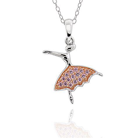 Ballerina Pendant Necklace sterling silver cz ballerina pendant necklace 17