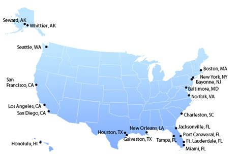 map us ports cruise from us ports