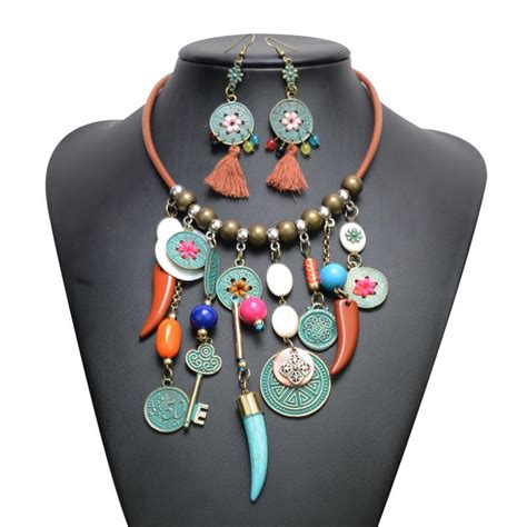Tassel Earring Key 2017 ethnic retro coin tassel necklace earring jewelry set
