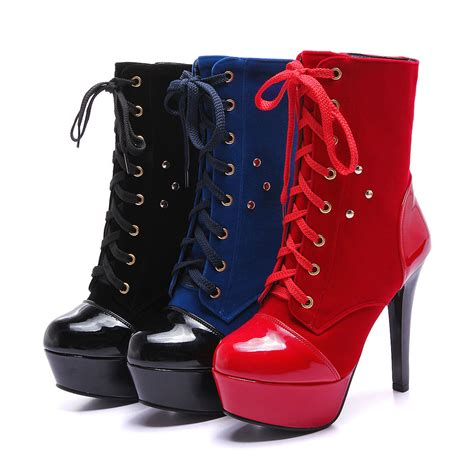 boots high heels womens stiletto high heel platform lace up ankle