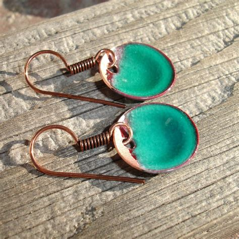 Enameled Jewelry Handmade - handmade enameled copper earrings enamel jewelry