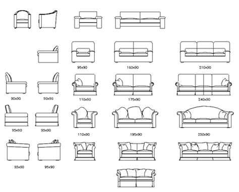 divani cad couches autocad elevations