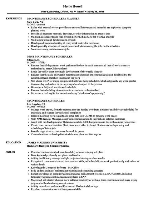 scheduler resume exles maintenance scheduler resume sles velvet
