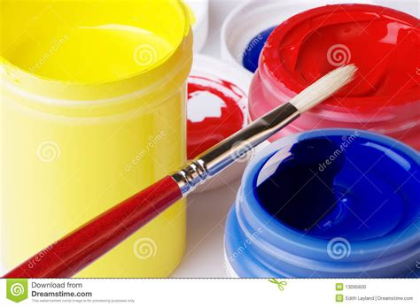 primary color acrylic artist paint stock photo image 13095600