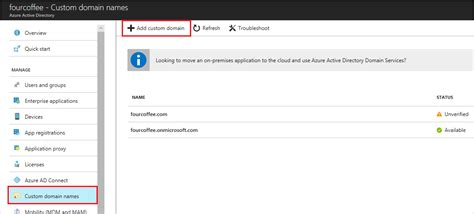 add  verify custom domain names azure active