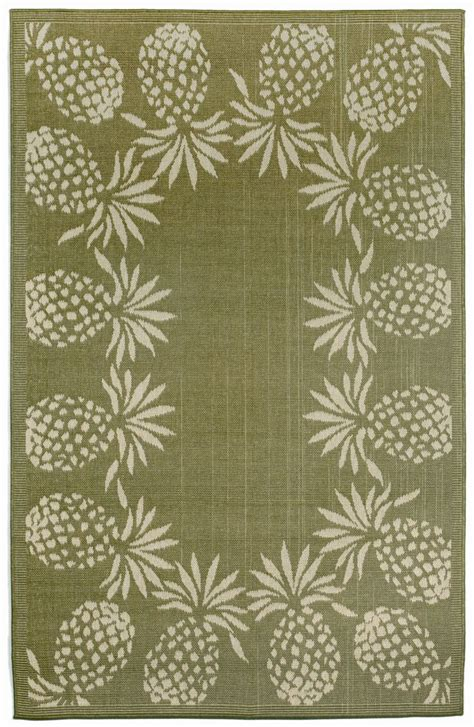 Pineapple Outdoor Rug Terrace Pineapple Border Green Indoor Outdoor Area Rug Products Pinterest Rugs Area Rugs