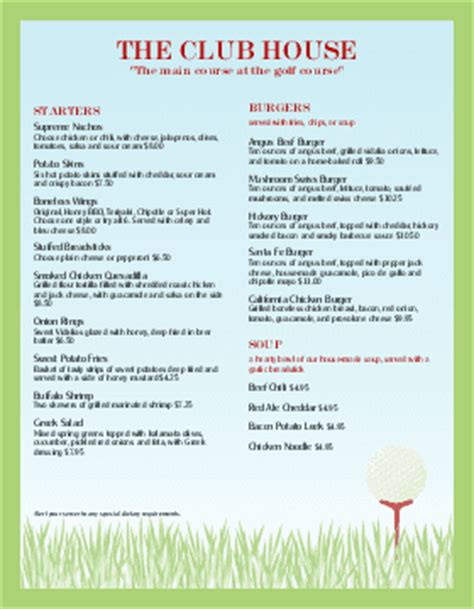 golf menu templates musthavemenus 16 found