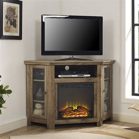 Corner Electric Fireplace Tv Stand Home Loft Concepts Corner Tv Stand With Electric Fireplace Reviews Wayfair