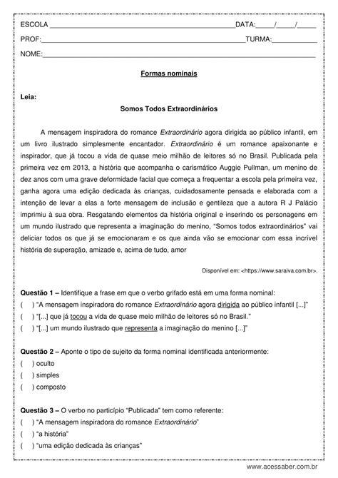 Atividade de português: Formas nominais - 1º ano do ensino