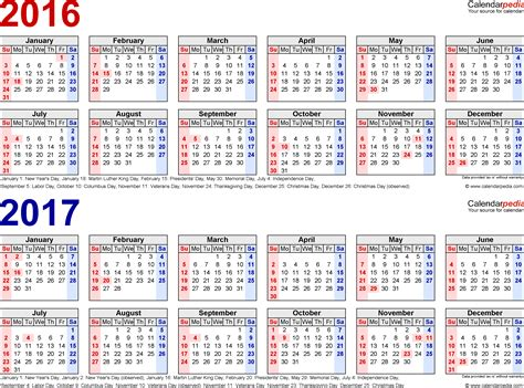 printable calendar 2016 and 2017 2016 2017 calendar free printable two year pdf calendars