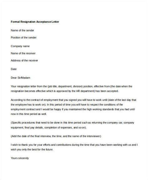 Accepting A Resignation Letter by 14 Formal Resignation Letters Free Sle Exle Format Free Premium Templates