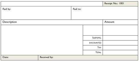 Blank Receipt Template Microsoft Word by Printable Documents