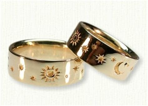 gold horoscope wedding rings with sun moon and
