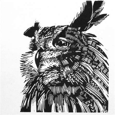 holzschnitt muster owl lino cut drucke linoldruck und drucktechnik