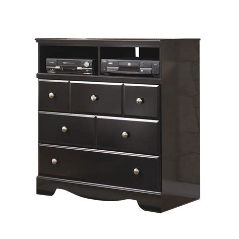 black media chest with drawers signature design by ashley furniture shay 3 drawer media