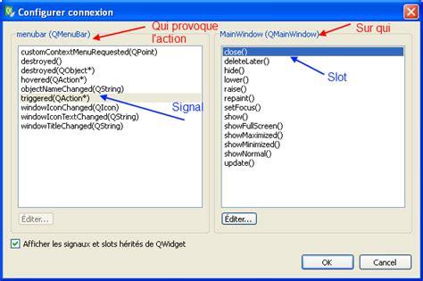qt designer menu qt designer menu signal slot barre d ic 244 nes