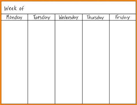 monday  friday calendar template  calendar printable