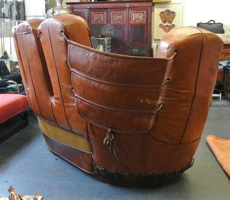 baseball glove sofa stiles brothers leather baseball glove sofa at 1stdibs