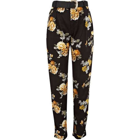 patterned tights river island river island black floral print tapered cropped trousers