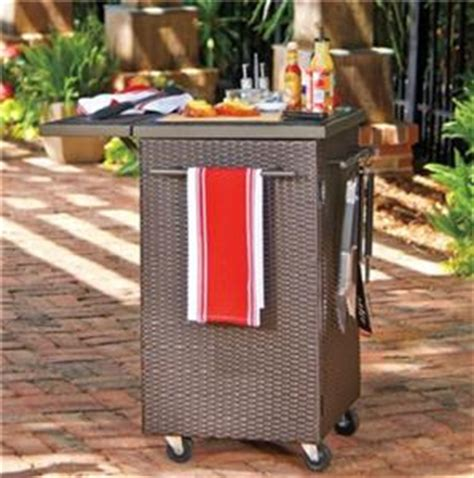 brown resin wicker food grilling bbq portable prep station
