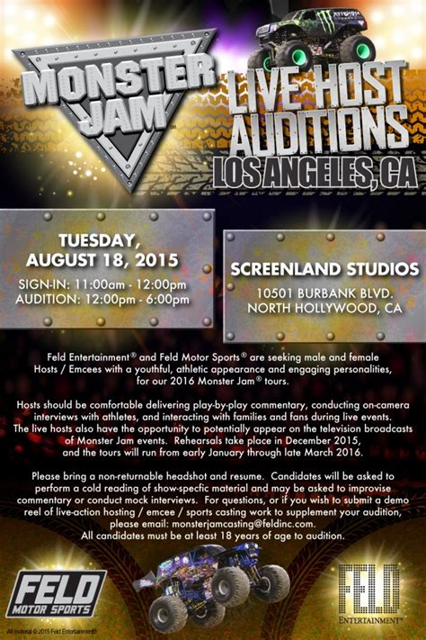 truck jam los angeles open auditions in l a n y for jam live the