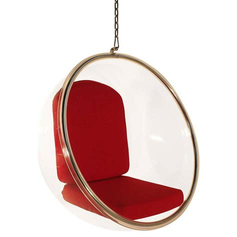 amazon com eero aarnio bubble chair with red seat cushion replica eero aarnio hanging bubble chair in red buy