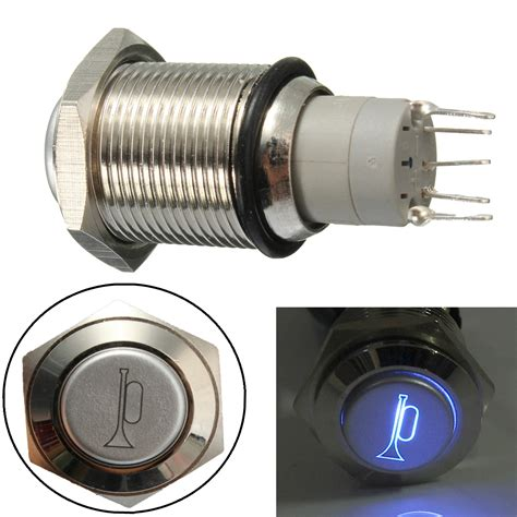 Stainless Push Button Momentary Horn With Ring Led Saklar Metal Switch 12v 16mm waterproof momentary horn metal push button switch blue led lighted alex nld
