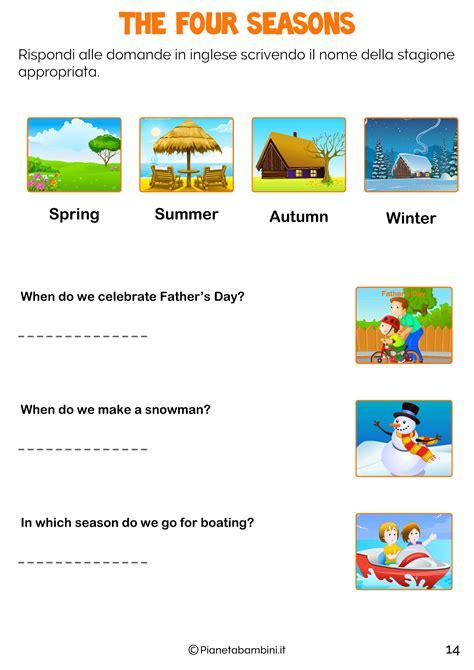 esercizi spagnolo con tutte le stagioni in inglese per bambini schede didattiche da