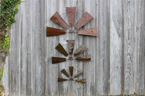 metal rustic half windmill wall decor