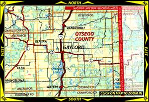 Gaylord Michigan Map by Map Of Otsego County Michigan Including Gaylord Elmira