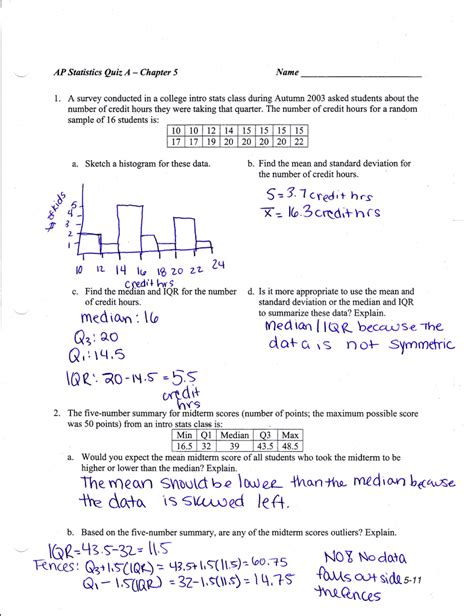 statistics section 1 answers ap statistics test 1b