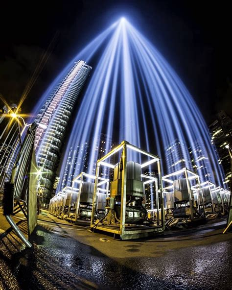 up of the 9 11 memorial lights