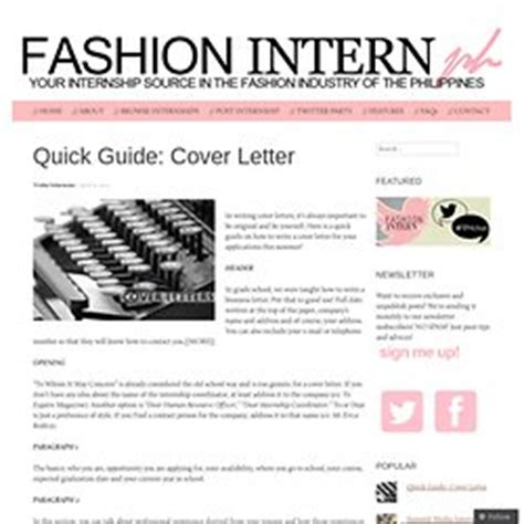 fashion internship cover letter cover letters pearltrees