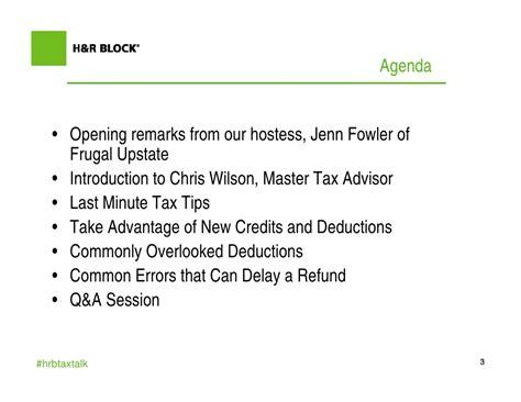 Last Minute Tax Deductions by H R Block Last Minute Webinar Presentation