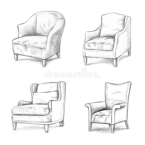 Pencil Sketches Of Chairs Sketch by Chair Sketching Stock Illustration Illustration Of Sketch